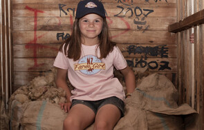NZ Farm Girl pink tshirt and navy cap